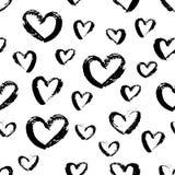 Naadloos hand getrokken hartenpatroon Leuk Inktontwerp voor t-shirt, kleding, doeken Royalty-vrije Stock Afbeeldingen