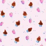 Naadloos hand getrokken patroon met bruine cakes Stock Afbeeldingen