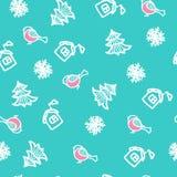 Naadloos hand getrokken patroon met sneeuwvlokken en goudvinken Nieuwjaar` s backgrou Royalty-vrije Stock Foto's