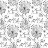 Naadloos hand getrokken patroon met toekan en tropische elementen Royalty-vrije Stock Afbeeldingen