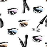 Naadloos hand getrokken patroon van van de vrouwenoog en make-up elementen Stock Foto's