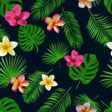 Naadloos hand getrokken tropisch vectorpatroon met orchideebloemen Royalty-vrije Stock Afbeeldingen
