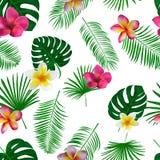 Naadloos hand getrokken tropisch vectorpatroon met orchideebloemen Stock Fotografie