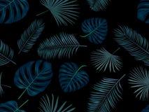 Naadloos hand getrokken vectorpatroon met groene palmbladen op DA Stock Afbeeldingen