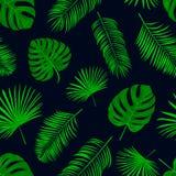 Naadloos hand getrokken vectorpatroon met groene palmbladen op DA Royalty-vrije Stock Afbeelding