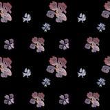 Naadloos hand getrokken waterverf bloemenpatroon op zwarte achtergrond stock illustratie