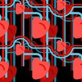 Naadloos hart menselijk patroon Schepen en haarvaten Orgaan van vector illustratie