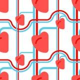 Naadloos hart menselijk patroon Schepen en haarvaten Orgaan van stock illustratie
