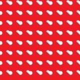 Naadloos hartpatroon - witte harten op rode backg Royalty-vrije Stock Foto's