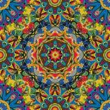 Naadloos, helder, overladen patroon met mandalas Malplaatje voor textiel, sjaal, tapijt, tegel Oosters ornament vector illustratie