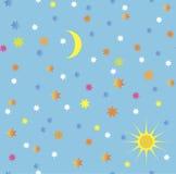 Naadloos hemelpatroon in blauw Royalty-vrije Stock Afbeeldingen