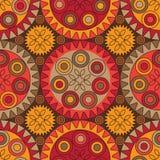 Naadloos Hennaontwerp in rood en oranje Stock Afbeeldingen