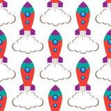 Naadloos herhaal de ruimteraket van patroonkinderen ` s op witte achtergrond, vectorillustratie stock illustratie