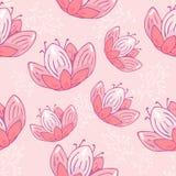 Naadloos herhaal patroon met het roze van de bloemenpastelkleur op roze achtergrond krabbelhand getrokken stof, giftomslag, muura vector illustratie