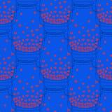 Naadloos herhaal patroon met kruik met rode harten binnen op blauwe achtergrond, vectorillustratie Stock Foto