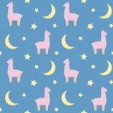 Naadloos herhaal patroon met leuke roze pluizige lama's op blauwe achtergrond royalty-vrije illustratie