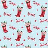 Naadloos herhaal patroon - rode rubberlaarzen met tulpen en tekst 'de lente '/'tulpen op een lichtblauwe achtergrond vector illustratie
