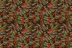 Naadloos, herhalend patroon van gekleurde bladeren Stock Fotografie