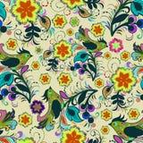 Naadloos het herhalen patroon van multi-colored vogels Stock Foto's