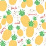 Naadloos het patroonmalplaatje van de de zomerananas voor fruitachtergrond of pakketontwerp Royalty-vrije Stock Afbeeldingen