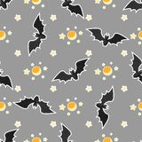 Naadloos het patroonontwerp van Halloween met knuppel, maan en sterren vector illustratie