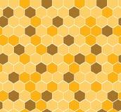 Naadloos Honingraatpatroon met gele en gouden honing Stock Foto