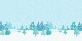 Naadloos horizontaal de winterpatroon Royalty-vrije Stock Afbeeldingen