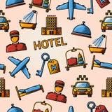Naadloos hotel handdrawn patroon Stock Foto