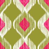 Naadloos ikatpatroon in roze en kaki kleuren Vector stammenachtergrond Stock Afbeeldingen