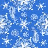 Naadloos Indisch blauw patroon, Royalty-vrije Stock Afbeeldingen
