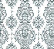 Naadloos Indisch die patroon op traditionele Aziatische bloemenelementen Paisley wordt gebaseerd Stock Foto