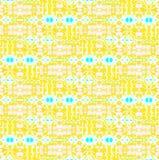 Naadloos ingewikkeld patroon geel wit turkoois Stock Foto