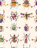 Naadloos insectenpatroon Stock Fotografie