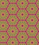 Naadloos Islamitisch Marokkaans patroon Arabisch geometrisch ornament Moslimtextuur Wijnoogst die achtergrond herhalen Vectorblau Stock Foto