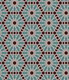 Naadloos Islamitisch Marokkaans patroon Arabisch geometrisch ornament Moslimtextuur Wijnoogst die achtergrond herhalen Vectorblau Stock Fotografie