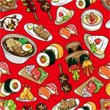 Naadloos Japans voedselpatroon Stock Afbeeldingen