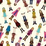 Naadloos jong meisjespatroon Royalty-vrije Stock Foto