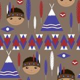 Naadloos jonge geitjes leuk Amerikaans Indisch inheems retro patroon Stock Fotografie