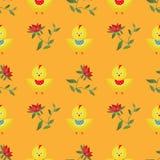 Naadloos jonge geitjespatroon met de achtergrond van de kippentextuur Stock Fotografie
