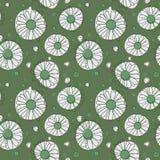 Naadloos kamillepatroon op groene achtergrond Stock Afbeelding