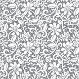 Naadloos kant bloemenpatroon op grijze achtergrond Royalty-vrije Stock Foto