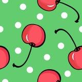Naadloos kersenpatroon op groene achtergrond Stock Afbeeldingen