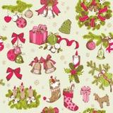 Naadloos Kerstmispatroon Stock Afbeelding