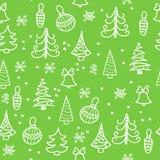 Naadloos Kerstmispatroon Kerstboom, decoratie, klokken Royalty-vrije Stock Afbeelding
