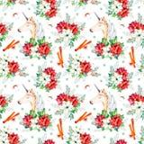 Naadloos Kerstmispatroon met bloemen, leuke eenhoorn Stock Foto