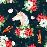 Naadloos Kerstmispatroon met bloemen, leuke eenhoorn Stock Afbeelding