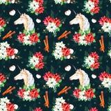 Naadloos Kerstmispatroon met bloemen, leuke eenhoorn Stock Afbeeldingen