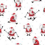 Naadloos Kerstmispatroon met de Kerstman vector illustratie