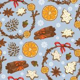 Naadloos Kerstmispatroon met feestelijke kronen, snoepjes en sneeuwvlokken stock illustratie