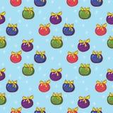 Naadloos Kerstmispatroon met gekleurd Kerstboomspeelgoed op a Royalty-vrije Stock Foto